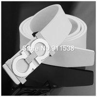 Free shipping 1pcs Summer han edition leisure men of eight new white belt buckle leather belt Cowhide joker belts  #HSB005