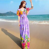 New Summer Women Floral V Neck Beach Boho Maxi Sundress Long Maxi Dress 3 Colors