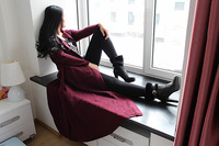 Spring autumn woman fashion  loose maxi knitted cardigan jacket floor length  sweater coat
