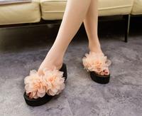 Free Shipping 2014 New Women Ladies Flower Sandals Flip-Flops Women's Summer  Platform Shoes Flat Cool Beach Slippers