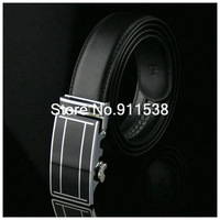 Free shipping 1 piece Men high-grade business black leather belt leisure fashion belt automatic buckle cow leather belt #HSB010