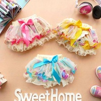2014  Children's Clothing Princess Baby Girls Skirts version of the pastoral style floral skirt bow lace tutu skirts summer