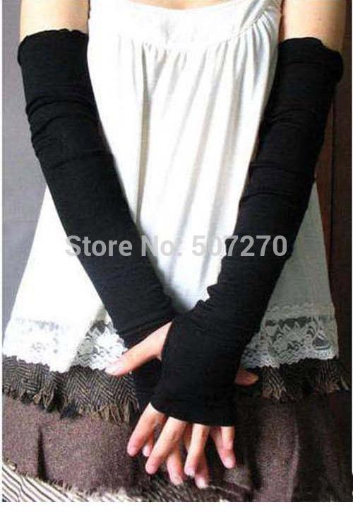 2014 Style Fashion NEW Women's Warmer Fingerless Long Half Arm fingerless Gloves & Mittens Black/Coffee/Grey/Drak Gray 4 Colors(China (Mainland))