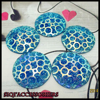 (40pieces/lot)2014 New High-quality flashing surface Blue AB Sew buttons 30mm diy jewelry accessories/ wholesale and retail