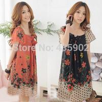 2014 new fashion women O-Neck loose chiffon puff sleeve big size dress print casual Vintage Mini Dress  Free shipping