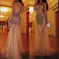 New Charming Spaghetti Straps Nude Back Beaded See Through Evening Dresses Champagne Mermaid Prom Dresses 2014