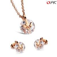 OPK JEWELRY Free Box! Fashion AAA Zircon CZ Diamond Necklace + Earring Women Party Jewelry Sets Sexy Fox Design Hot Sale, 877