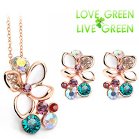 2014 new arrival necklace earrings jewelry sets fashion brand bridal 18k rose gold plated Austrian Crystal flower 85043