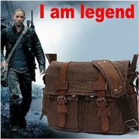 Pure cotton men canvas bag,genuine leather handbags,I am legend single shoulder bag, men's inclined shoulder bag,men travel bags
