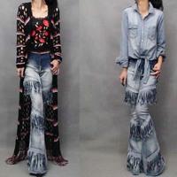 women's fashion personality big horn denim trousers 2014 Autumn gradient color tassel shuimo motorcycle jeans light blue pants