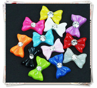 free shipping 24pcs/pack 12color  bowknot  with rhinestone art   nail decoraion,bow tie art nail  jewelry (XY-N056