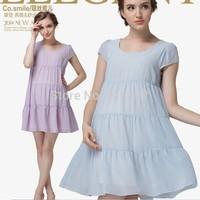 2014 summer European/American style chiffon dress for maternity plus size dress pregnant women puff sleeve dress free shipping