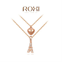 ROXI rose-golden heart with the Eiffel Tower necklaces,fashion jewelrys for women,factory price ,best Christmas gifts