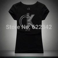 2014 summer Calvin c.k T-shirt women cultivate one's morality short sleeve cotton lycra dress simple letters classic T-shirt