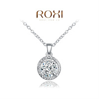 ROXI delicate platinum plated new arrival rose necklaces,fashion jewelrys for women,factory price,Christmas gifts