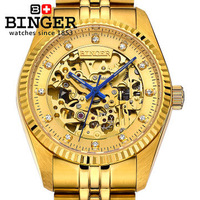 Genuine Pure Gold Watches Partially Hollow Transparent Dial Stainless Steel Band Automatic Mechanical Wrist Watch Rhinestone