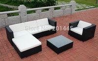 Rattan Modern sofa set wicker garden furniture patio L shape sofa shaped ottoman