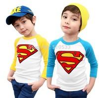 Fashion New Spring Autumn Long Sleeve Kids T Shirt Superman Printed Cotton Children Tee Shirts Clothing