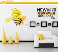 Freel shipiing Creative DIY Removable Wall Stickers Hua Bee cartoon wallpaper wall clock Wall Clock