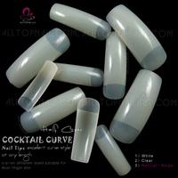 Tapered Nail Tips 100x French COCKTAIL CURVE Original Natural Nail Tips -Free Shipping