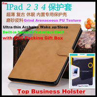 5pcs!Archaize 9.7 inch Top Business Holster Case for iPad 2/3/4,Built-in Shell,Smart Wake up/Sleep,Grind Arenaceous PU,+PVC Box