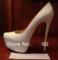 Fashion Women's Pumps White Patent leather platformhigh heels thin heels shoes boots sandals genuine leather