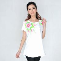 Eleomargaric 2014 summer plus size clothing plus size hand painting t-shirt elegant gentlewomen short-sleeve top xxxl