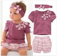 Baby summer Lanvender short sleeve O neck Floral  Bowknot Flower Print Clothing Set children t-shirt+pant+headwear 3 pieces set