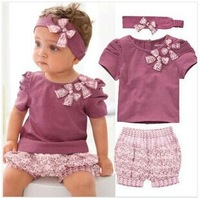 Baby summer Lanvender short sleeve O neck Floral  Bowknot Flower Print Clothing Set children t-shirt+pant+headwear 3 pieces set