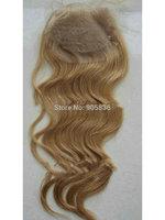 "Honey blonde #27 body wave  virgin brazilian  hair lace closure 3.5""*4"""
