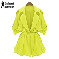 Fashion women's solid color medium-long skirt bottom type trench outerwear female 2014 spring