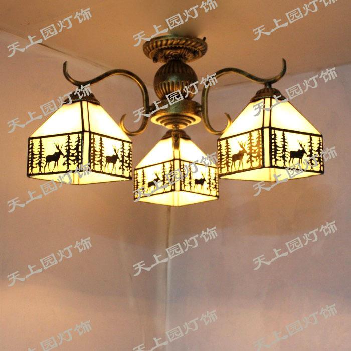 The new head of marketing Tiffany chandelier 3-5 European art of multi- copper deer restaurant ceiling bedroom lamp headlights(China (Mainland))