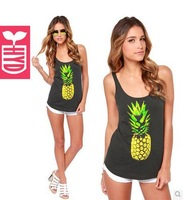 leisure style Free shipping 2014 Cotton printing ananas Womens beach vest slim fit sleeveless tank tops,Cheap sales