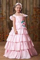 Neckline Tiered Satin Pink 2014 Flower Girl Dress