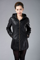 Free shipping Ms. Sheep skin and long big yards of leather coat M