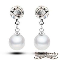 Free Shipping Fashion 2014 Wholesale Simple Rhinestone Bridal Earrings Pearl Jewelry 10pairs/lot