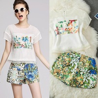 2014 New fashion women's flower silk print top blouse short skirt set brand female skirt set twinset women skirt suits