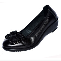 New fall 2014 women's genuine leather shoes, middle-aged women's shoes, pumps large size women's shoes, free shipping