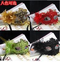 Handmade Venetian Leather Rhinestone Flower Masquerade Party Mask Sexy Princess Dance Wedding Birthday Carnival free shipping