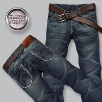 Hot sale 2014 retail & wholesale Men's trousers,Leisure&Casual pants, Newly Style Zipper Blue Straight Cotton Fashion Men Jeans