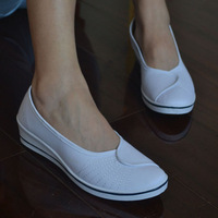 2014 new women White nurses shoes asakuchi flat bottom shoes beef bottom women's shoes
