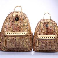 2014 South Korean explosion models M brand leather orange backpack backpack through snake skin bag Jinshe couples