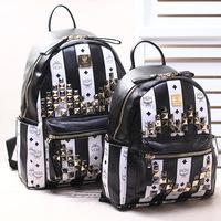The 2014 new Japan South Korea M brand leather orange backpack and black and white zebra striped Bag Backpack Backpack
