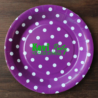 Free shipping 9inch 50pcs/lot purple dots paper plate,Kid Birthday Decor Paper Plate ,party cake plate Party Supplies
