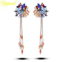 2014 european tassel fashion jewelry romantic luxury bohemian multicolor long crystal earrings for women