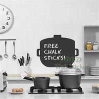 Cooking pot blackboard wall sticker, Vinyl waterpoof  Removable chalkboard,Free Shipping