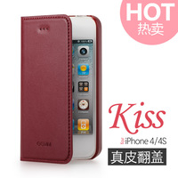 New Arrival  2014 Mini sucker for apple iphone 4 for apple iphone 4s Genuine Leather fashion mobile phone case