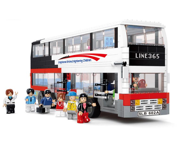 Sluban enorme Retail Sluban City Bus / autocarro de dois andares Building Blocks crianças Bricks Toy 741 pcs compatível com Lego partículas(China (Mainland))
