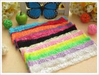 30pcs 12 color Baby Receiving headband lace hairband hair Ribbon hair elastic headband taenia bandeau for hair flower