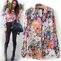 SZ060 New 2015 Spring Summer Vintage Floral Print Shirt Women's Long Sleeve Fashion Chiffon Blouses Tops Blusas Femininas S&Z